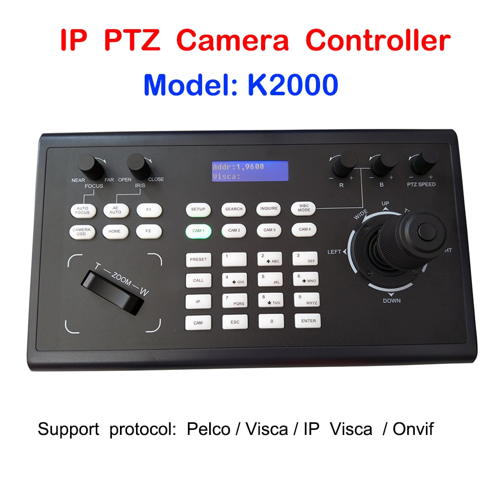 PelcoD Visca Onvif 4D عصا التحكم IP PTZ وحدة تحكم بلوحة مفاتيح RS485 RS232 RS422 لنظام Vmix/البث