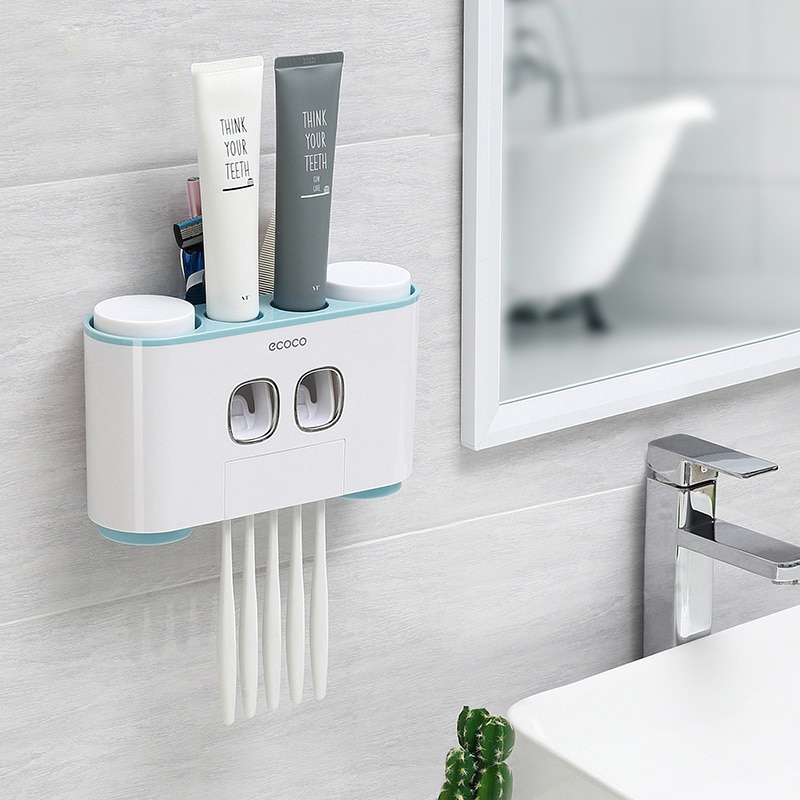 Montado en la pared automático dispensador de pasta de dientes 4 titular de cepillo de dientes de baño LAVADO DE exprimidor de pasta de cepillo de dientes de almacenamiento