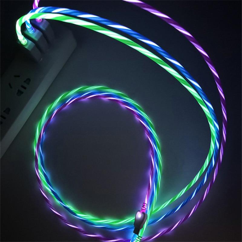 LED Glow Fließende Daten USB Ladegerät Typ C/Micro USB/8 Pin Lade Kabel für iPhone X Samsung galaxy S9 S8 Ladung Draht Kabel
