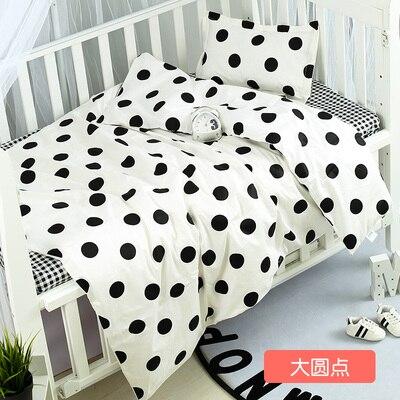 Com enchimento linda dot bebê jogo de cama ropa de cuna algodão crianças roupas de cama unpick e lavar, edredão/folha/travesseiro