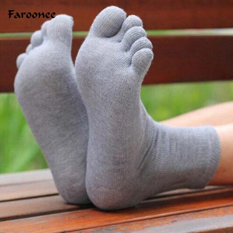 Confortável macio vestido de negócios dos homens cinco dedo do pé meias de algodão alta qualidade meias masculinas cinza branco preto