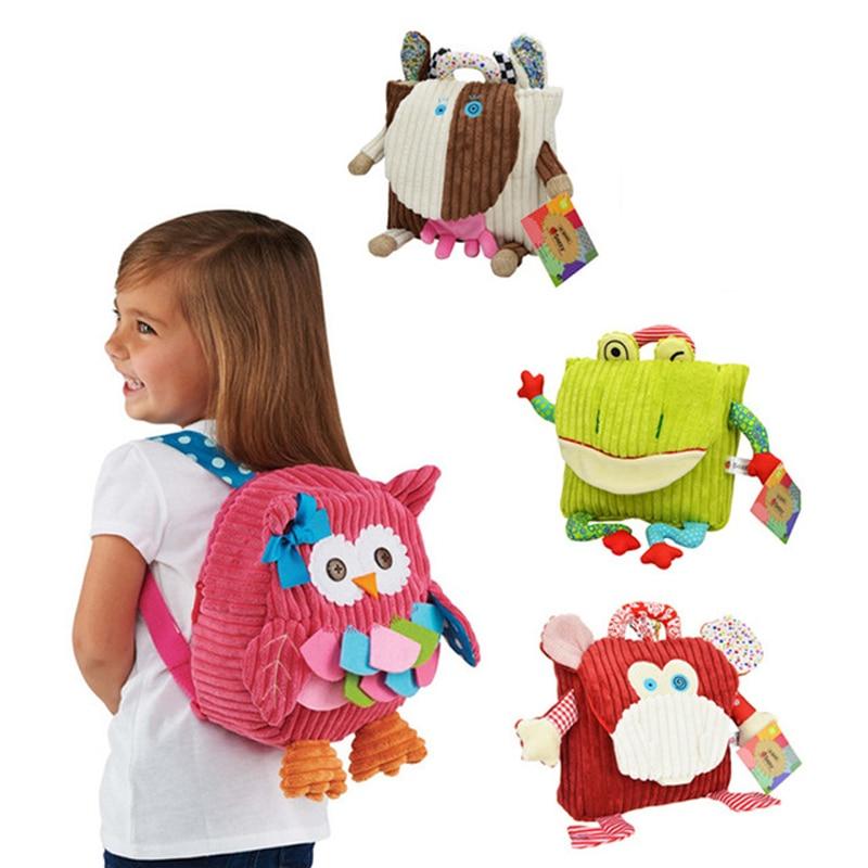 100 pçs/lote Bonito Kid Plush Saco de Escola Mochilas Animal Figura Kid Meninas Meninos Presentes Coruja Brinquedo Vaca Sapo Macaco mochila