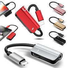 2 en 1 3.5mm adaptateur de prise pour écouteurs Aux Audio prise casque séparateur chargeur câble de charge convertisseur pour iPhone 8 Plus X