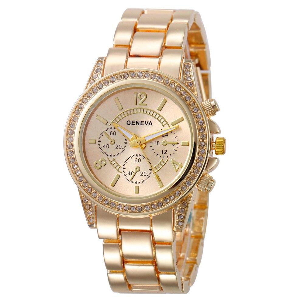 2019 New Fashion Faux Chronograph Plated Classic Geneva Quartz Ladies Watch Women Crystals Wristwatc