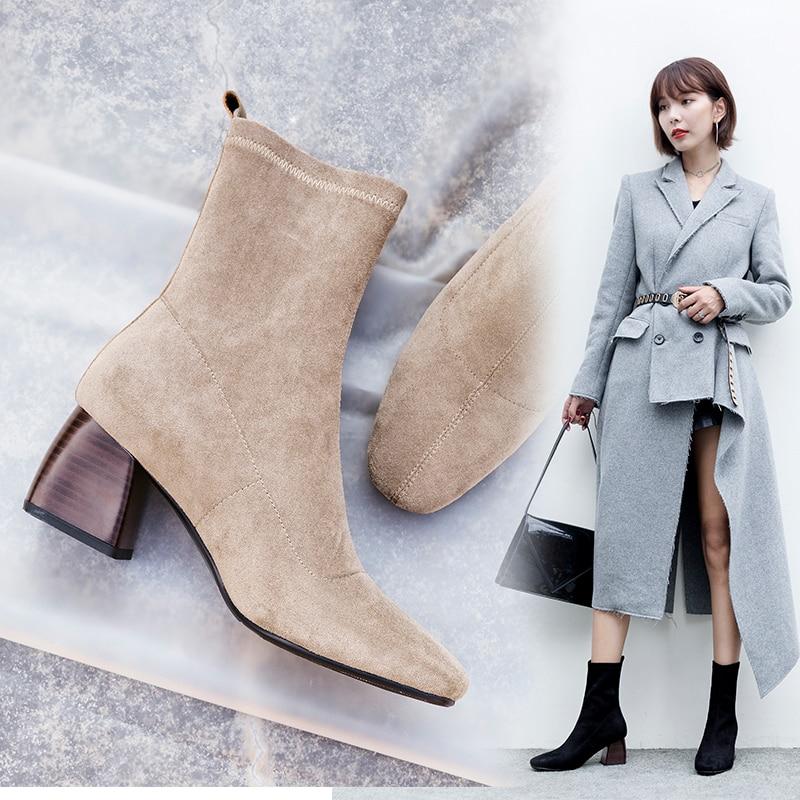 Vangull النساء الأحذية النمط البريطاني قطيع المخملية تمتد الأحذية الموضة عارضة الجلود الداخلية الأوروبية والأمريكية كل مباراة