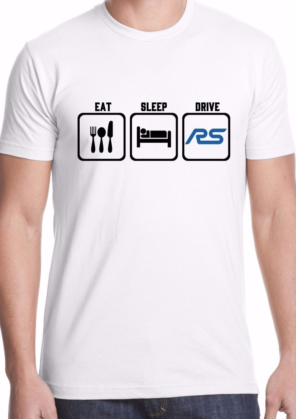 ¡Novedad de 2019! Camiseta de manga corta con estampado de letras para hombre, camiseta RS Focus Car Hot Hatch Eat Sleep Drive Ken Block RX Drift, camiseta