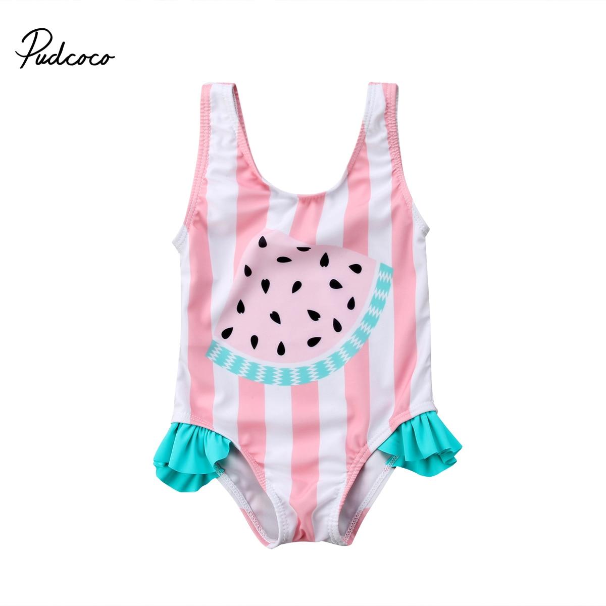 ¡Novedad de 2018! traje de baño de sandía para bebé recién nacido, Bikini de una pieza con volante de 0 a 3T