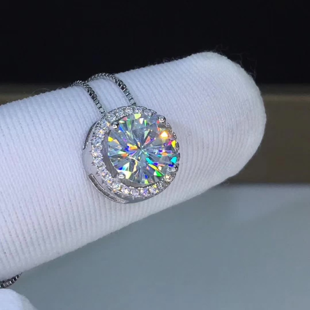 6.5mm Moissanite S925 Pure Silver Platinum Plated pendants 1ct Carat Moissanite Pendant necklace Round D Color Free Chain