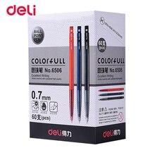 Deli 60 sztuk/partia plastikowe długopisy automatyczne atrament długopis klasyczne Canetas lub długopis szkolny materiały biurowe prezenty