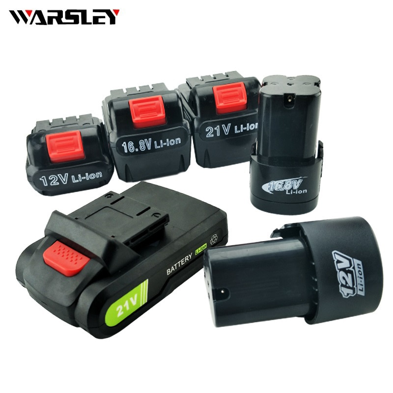 Taladro eléctrico recargable de 12V, 16,8 V, 21V, batería para herramientas inalámbricas, destornillador, batería recargable, batería de litio