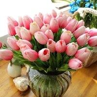 Fleurs artificielles en plastique PU 10 pieces lot  parfum doux  tulipe en latex  decoration de mariage maison  fausses fleurs cadeau