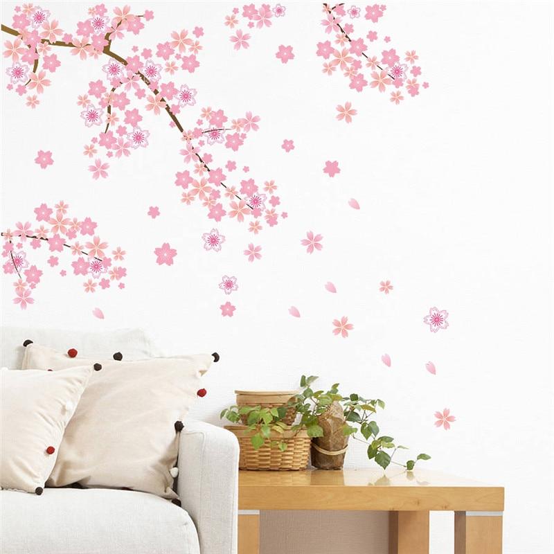 Rosa fiori di ciliegio albero romantico fai da te a casa della decalcomania autoadesivo della parete ragazze camera da letto TV sfondo decorativo negozio di cucina murale