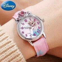 Reine des neiges Elsa princesse fille bleu rose couleur luxe cristal montre fille amour belle neige Disney enfant montres mode Style haut