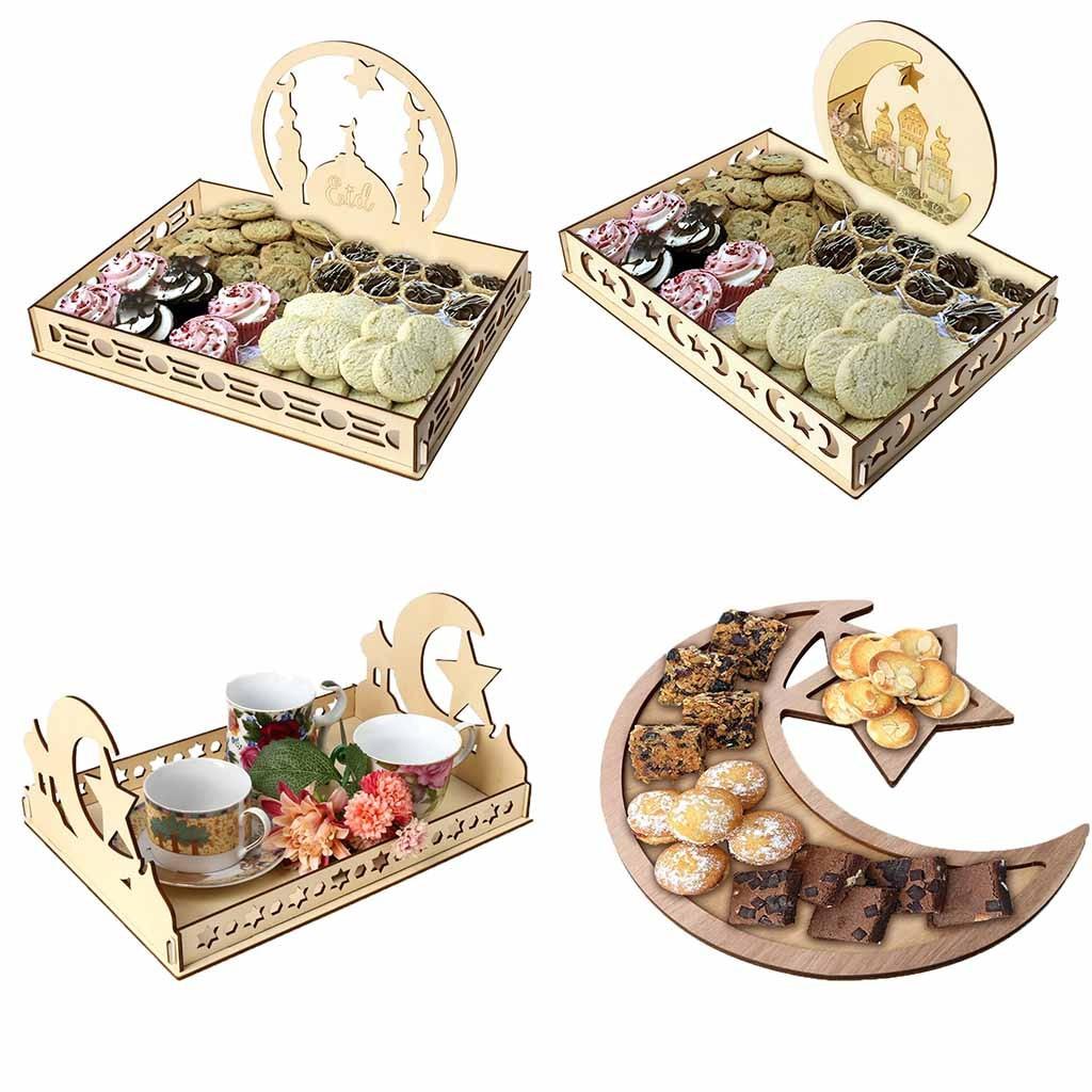 Bandejas para fiesta de madera artística Eid Mubarak, bandeja de exhibición, decoración de madera, almacenamiento de cocina, cocina