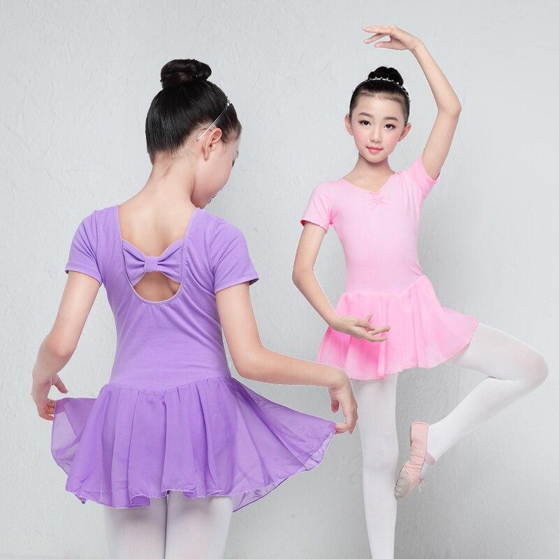 Балетное трико с длинными и короткими рукавами для девочек, детское Хлопковое платье для тренировок, шифоновое платье-трико