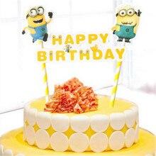 Décoration dépicable me minion décoration cupcake   Fournitures de fête pour bébés enfants minions, décoration pour gâteau drapeau joyeux anniversaire