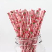 fruit paper straws baby shower decorations shabby chic rustic party buffet table strawberry watermelon pineapple printed