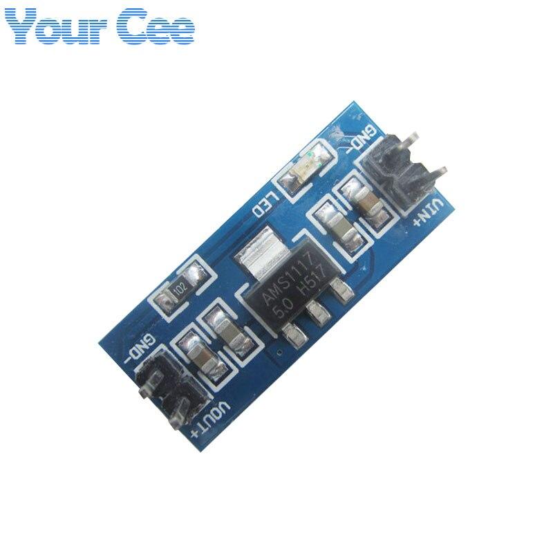 10 Uds. AMS1117 6,5 V-12 V Turn To 5V DC-DC reductor de fuente de alimentación módulo Buck para Arduino Raspberry pi