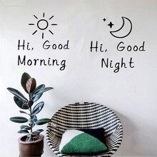 Pegatinas de vinilo para pared de buenos días/Buenas noches, decoración para el dormitorio, el Salón, el hogar, calcomanías para mural, arte, pegatinas de alfabeto, papel tapiz