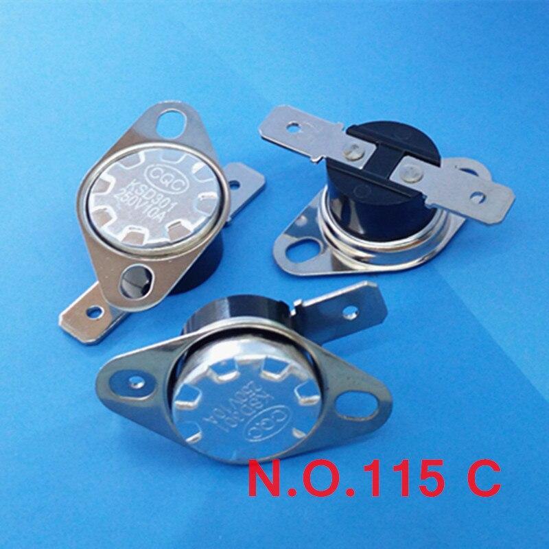 (100 pcs/lot) Normally Open Thermostat, Temperature Switch, NO 115 Celsius KSD301 10A 250V .