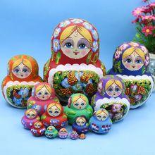 15pcs 20cm Wooden Russian Nesting Dolls Cartoon Traditional Matryoshka Dolls for Baby Kids Toy&Gift