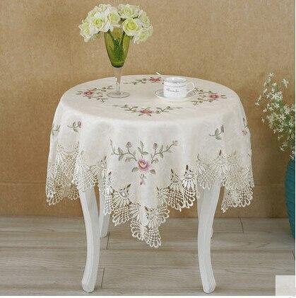 Mantel de tela con bordado de encaje para mesa de estilo europeo