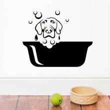 Stickers muraux en vinyle pour chiens   Stickers décoratifs imperméables pour Salon de toilettage des animaux de compagnie, autocollant Mural pour salle de bains, chambre de bébé et pépinière pour enfants Z180