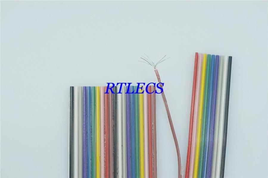 1 medidor 1.27mm passo 8 9 10 12 14 16 20 26 30 40 pinos plana arco-íris fita cabo ul2651 awg 28 para 2.54mm idc & dupont conector