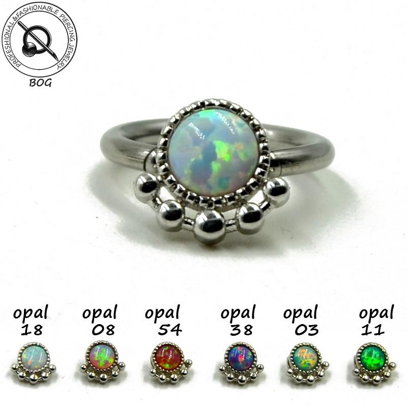 BOG-1pc Опаловое кольцо для пирсинга, перегородка кольцо в нос, кликер, кольцо для ушей, хрящи, кольцо для соска, 14 г, 16 г
