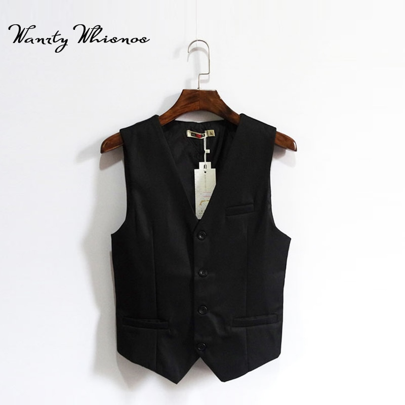 Sloid Black England Style Brand Men Vest Autumn Spring Formal Waistcoat For Men Slim Fit Fashion Men's Business Vest