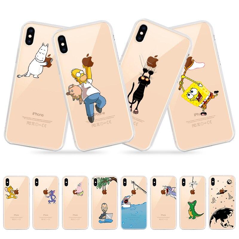 Прозрачный чехол для iPhone X XS Max XR Tom Jerry, мягкий силиконовый прозрачный чехол для iphone 8 7 6 6S Plus