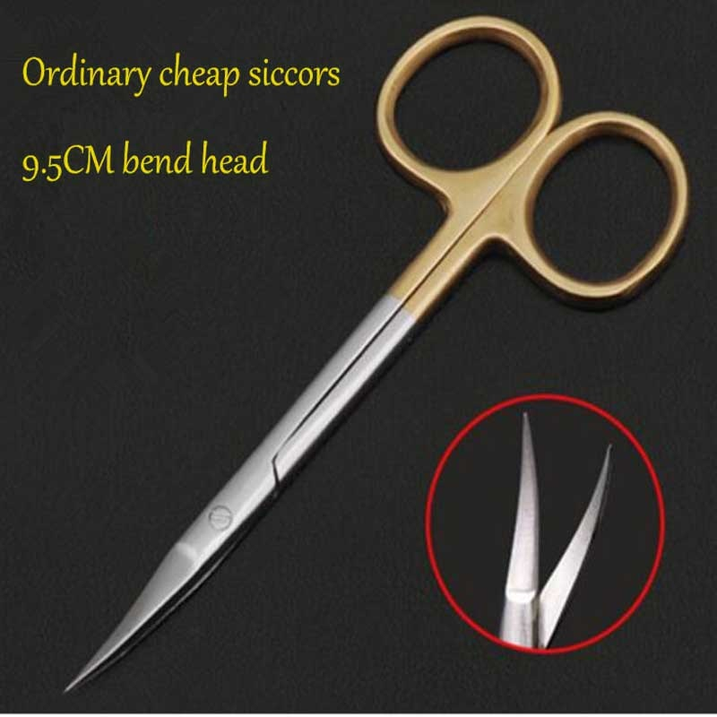 9.5 cm ordinária barato médico tesoura de olho cirúrgico beleza tesoura de corte de tecido tesoura
