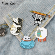 Divertido animal esmalte pin gatos oveja dinosaurio insignia broche de solapa para Denim Jean camisa bolsa de dibujos animados joyería regalo para mujeres niños