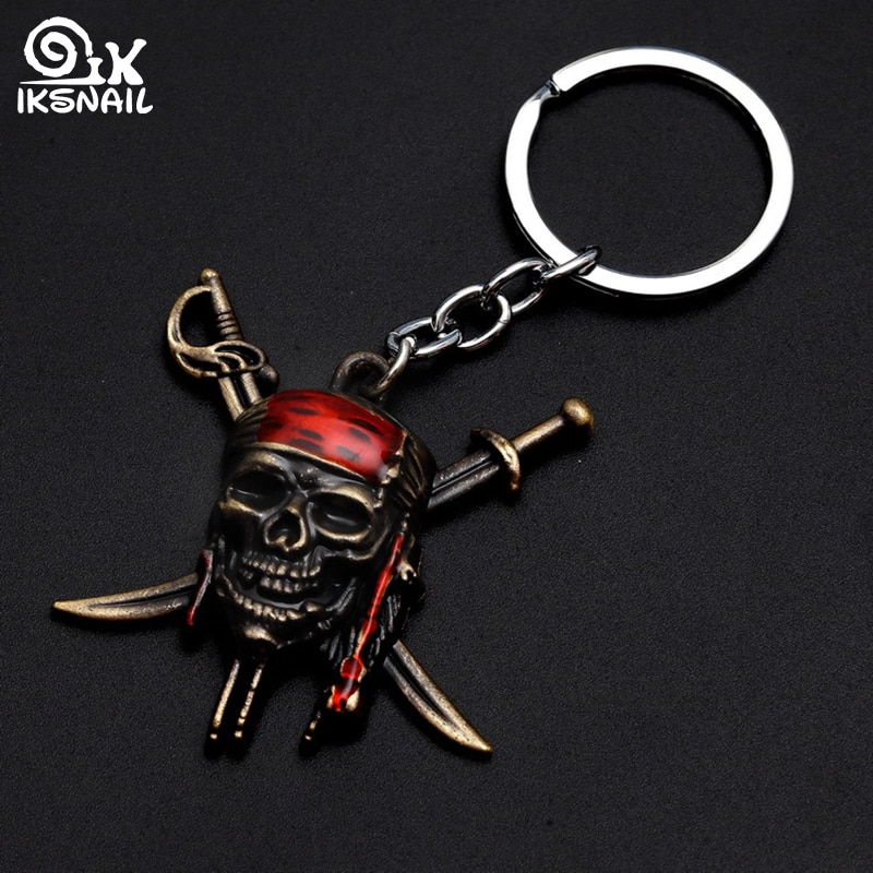 IKSNAIL Punk Style Skeleton Key Rings Pirates of the Caribbean Movie Mask Keychains Skull Crossbones Alloy Charms Car Keyrings