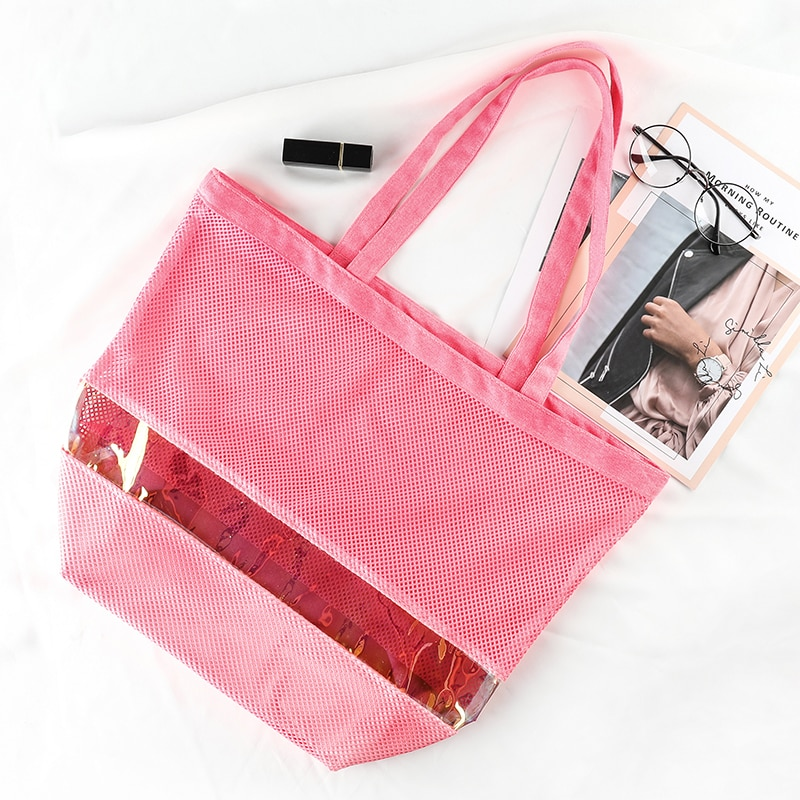 Fashion Laser PVC Mesh Tote bag Shopping Bags Summer Women Hollow Shoulder Beach Bags