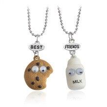 Nouveau 2 pièces/ensemble de biscuits et de lait meilleur ami et meilleurs bourgeons collier mini miniature alimentaire bijoux collier cadeau bijoux