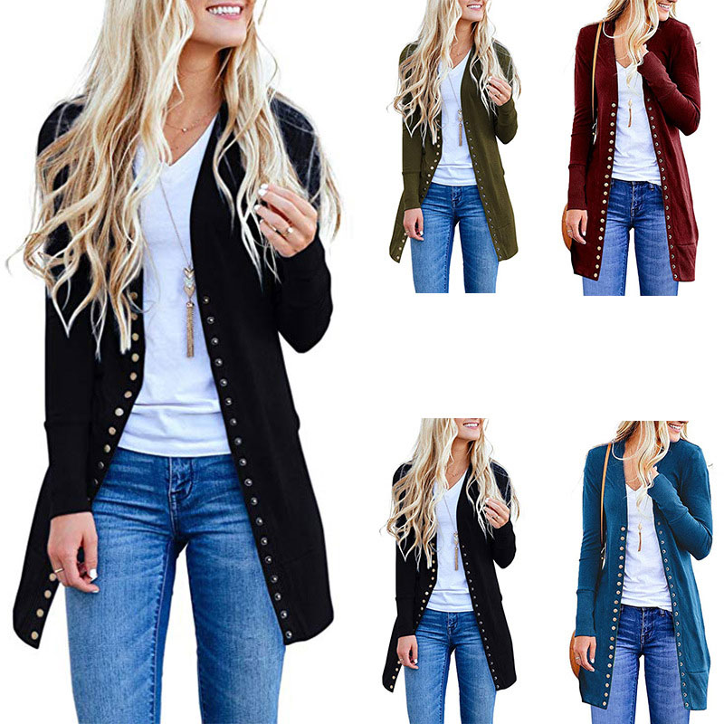 HEE GRAND 2XL cárdigan largo mujer 2019 otoño manga larga una sola Chaqueta de punto Mujer suéter sólido WZL1469