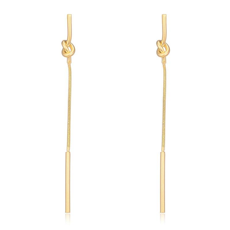 Pendientes colgantes para mujer, borla larga, nudo Simple, chicas, diseñador Brinco, marca fina, línea de oreja sensible, Pendientes colgantes