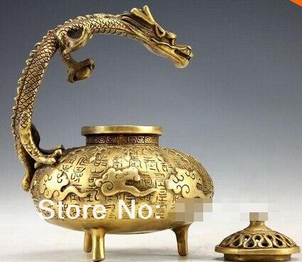 WBY + +, envío gratis, quemador de incienso de bronce, estatua de dragón incensario hecha a mano, caligrafía china antigua