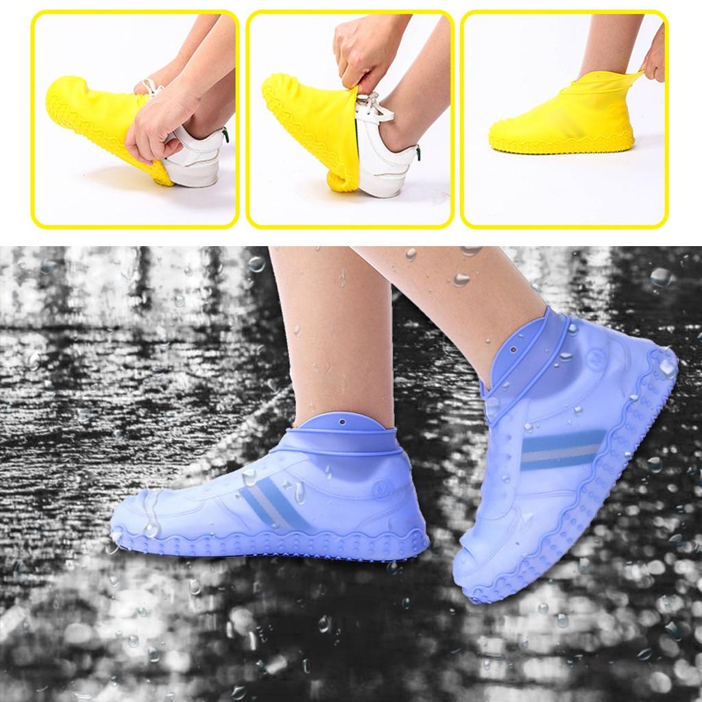 Уплотненные силиконовые непромокаемые сапоги, водонепроницаемые бахилы, унисекс, защитные прозрачные Нескользящие непромокаемые сапоги для женщин
