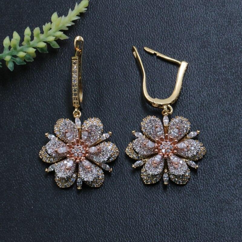 Lanyika joyería de moda de lujo Lucky Classic nieve flor pendientes Stud Micro pavé circón compromiso fiesta Popular pendientes regalo