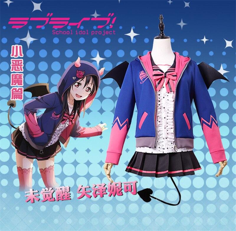 ¡Love Live! Nico Yazawa demonio Uawakening Shcool Idol proyecto Cosplay disfraz Camisa + abrigo + falda para mujer y niña A