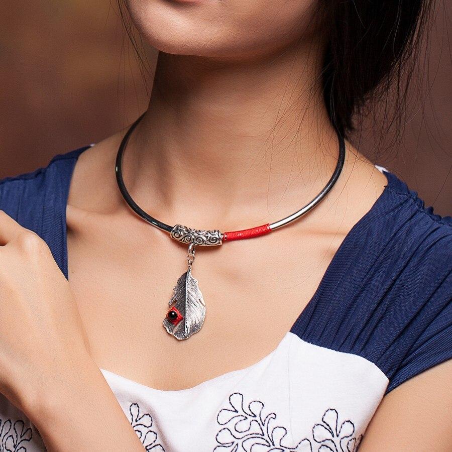 Joyas chinas nacionales del viento, collar de torsión, collar de plata tibetano, gargantilla hecha a mano, collar étnico antiguo