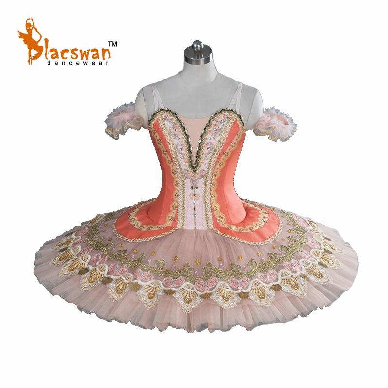 2017 nuevo traje tutú de Ballet profesional BT811 YAGP competencia Tutus para niñas naranja Ballet clásico tutú escenario disfraz