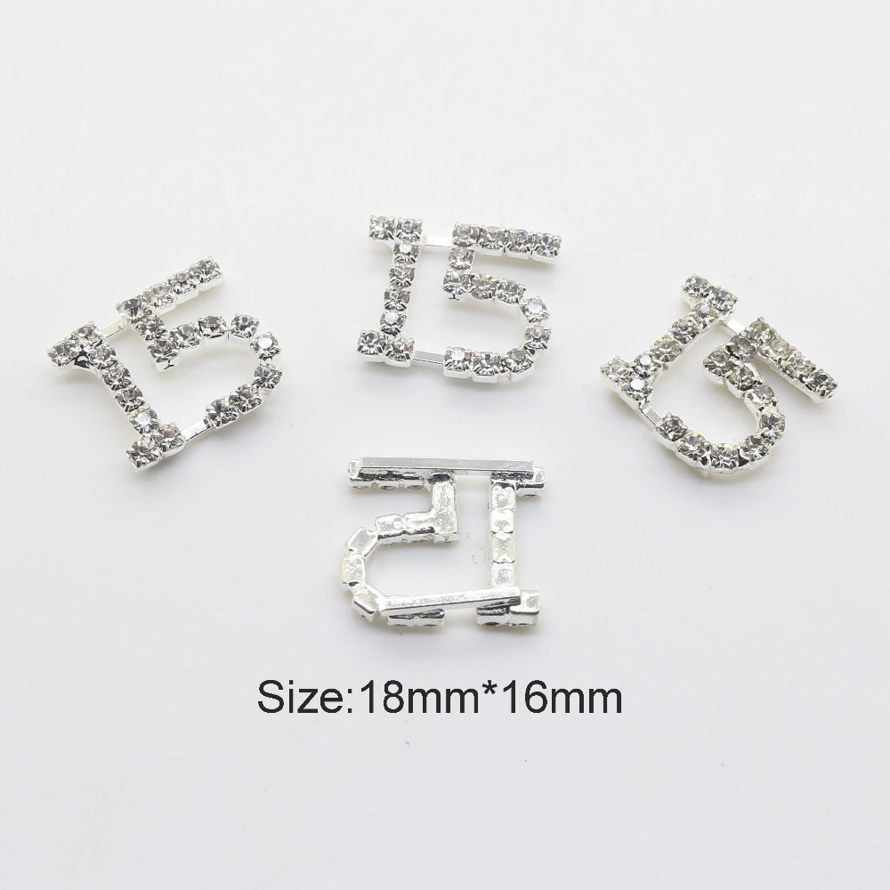 """10pc18*16mm plata Digital """"15"""" Metal botón tarjeta hacer DIY invitaciones de boda joyas para el cabello artesanales zapatos de ropa"""