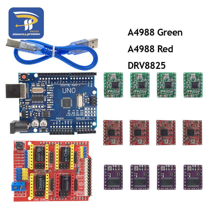 Máquina De Grabado Cnc Shield V3 Impresora 3d 4 Uds A4988 Drv8825 Placa De Expansión Del Controlador Para Arduino Uno R3 Con Cable Usb Máquina De 3d Escudo V3junta Para 3d Impresora
