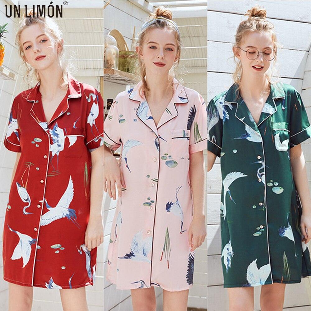 UNLIMON Women Sleepwear Korean Fashion Home Dress Stain Short Sleeve Nightdress