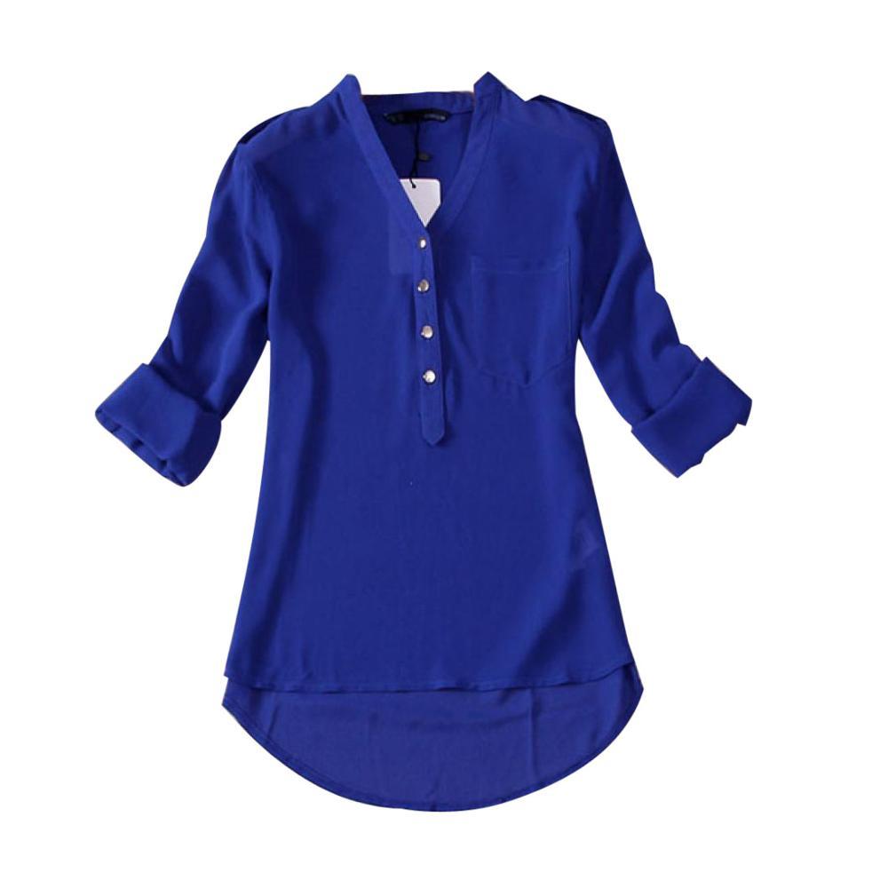 Camisa blanca Chemise Femme Mujer verano cuello pico gasa manga larga sólido bolsillo Camisas casual Tops blusa ropa Mujer