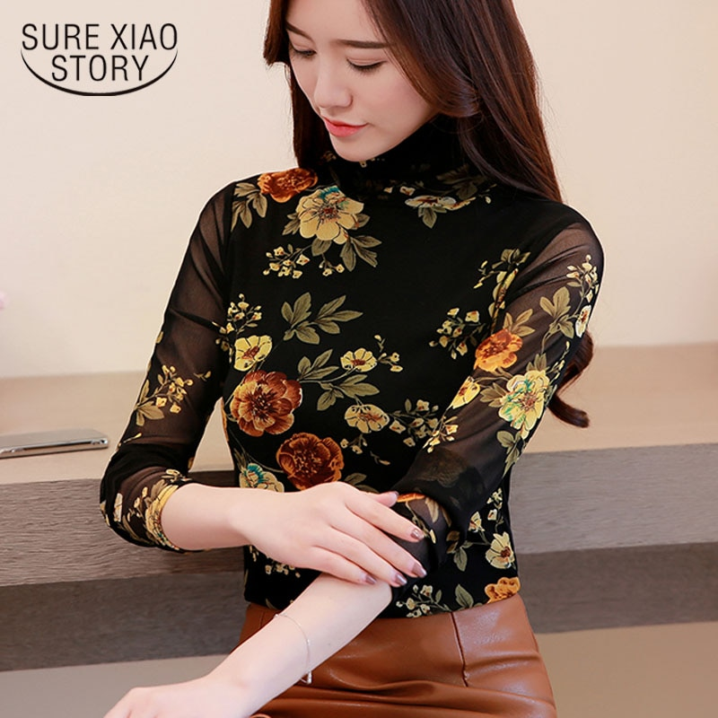 Blusas mujer de moda 2019 Blusa de manga larga Oficina blouseTurtleneck impresión Floral Casual tops y blusas para mujer 1414 45
