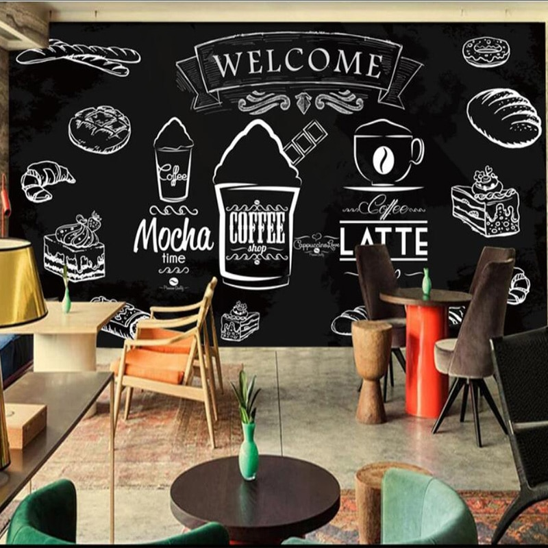 Custom photo wallpaper Blackboard coffee bread living room bedroom wallpaper mural restaurant lobbymural Hamburg shop mural